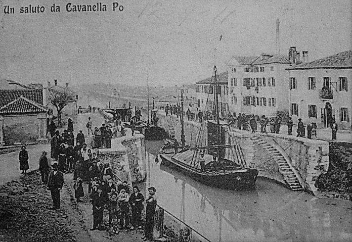 Cartolina storica dei primi Novecento con il canale navigabile, qui unqa pietra d'istria ricorda cosa fu Cavanella Po