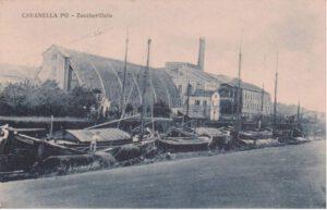Cartolina storica dello storico zuccherificio e il navigabile