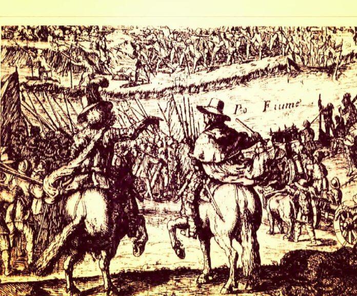 Dipinto delle truppe Estensi pronte a dar battaglia alla flotta Veneta (foto web)