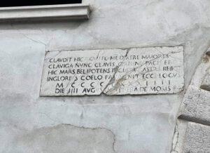 Targa commemorativa oggi esistente nel luogo dove si firmò la Pace di Bagnolo ( foto Paolo Rubens Pagina Facebook Casa è dove c'è un San Marco)