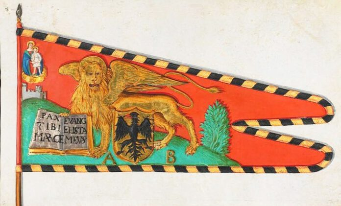 Una miniatura secentesca su pergamena del Lave des draps di Friburgo, che riproduce lo stendardo di Antonio Bragadin trafugato dagli imperiali dalla citta di Rovigo